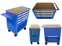 Тележка инструментальная ForceKraft (синий цвет) 4-полочная с деревянной столешницей