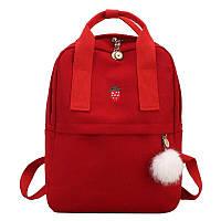 Рюкзак красный для девочки подростка с помпоном в стиле Канкен С БРАКОМ