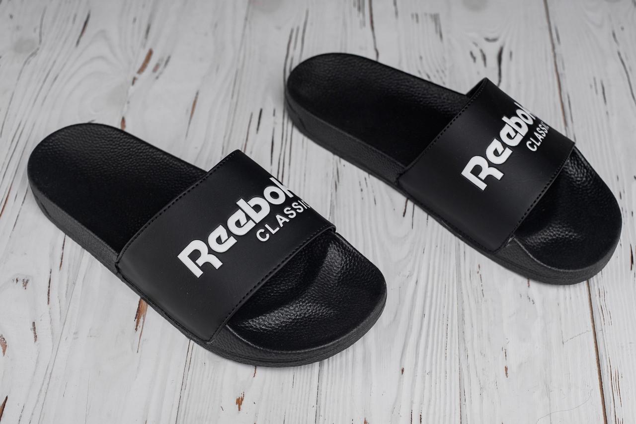 Мужские тапочки пляжные Reebok black (реплика)