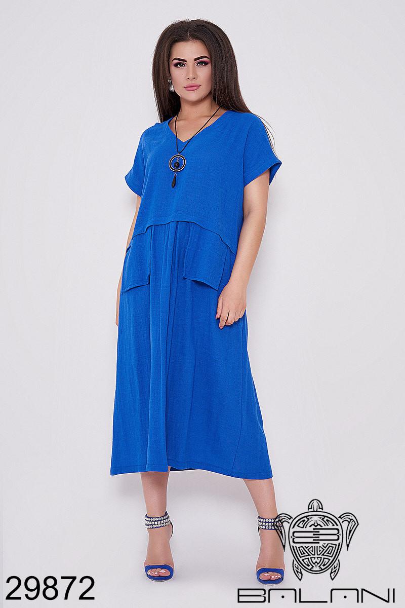 Платье женское летнее лен, размер:50-52, 54-56