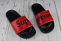 Мужские тапочки пляжные Supreme red (реплика)