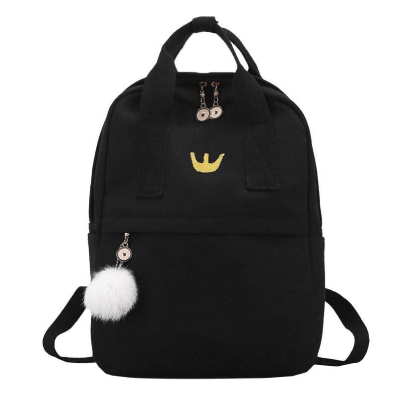 Рюкзак для девочки подростка черный с помпоном в стиле Канкен
