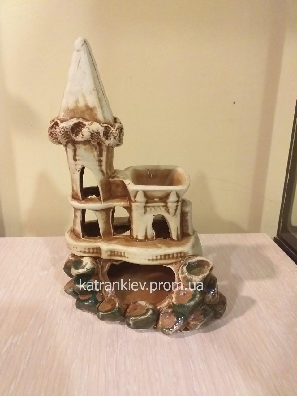 Декорация в аквариум, декор для аквариума замок, крепость, башня с85