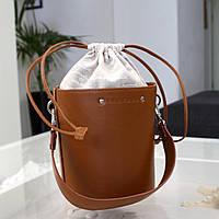 Женская кожаная сумка бочонок коричневая, фото 1