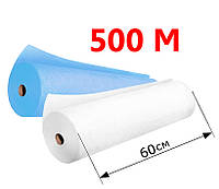 Простыни одноразовые в рулоне 0.6х500 м - 20 г/м2, (Белые/Голубые)