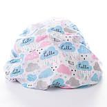 "Ткань муслин ""Облачка HELLO BABY"" голубые, розовые на белом, ширина 80 см, фото 5"