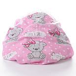 "Ткань муслин ""Мишки Girl с малиновым бантиком"" на розовом фоне, ширина 80 см, фото 5"