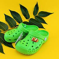 Зеленые кроксы оптом с мультгероями для детей Crocs тм Vitaliya Украина р. 22-33