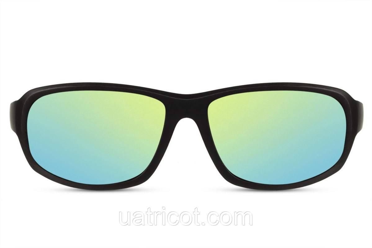 Мужские солнцезащитные очки маска в черной матовой оправе с зелеными зеркальными линзами