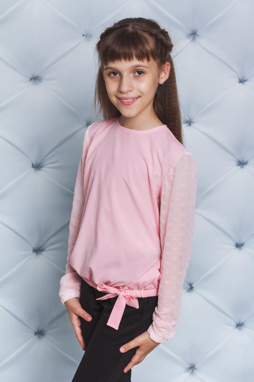 Блуза школьная с длинным рукавом персик
