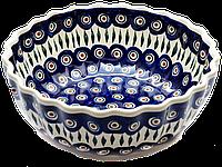 Круглая керамическая форма для выпечки и запекания 27 высокая рифленая  Перо Павлина