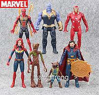 Набор Марвел Супергерои 7 шт 17 см Танос, Доктор Стрендж, Капитан, Человек Паук, Груд Отличное Качество !