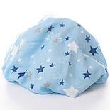"Ткань муслин ""Звёздный карнавал"" синий, белый на голубом, ширина 80 см, фото 5"