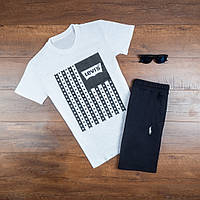 Мужская футболка Levis повседневная хлопковая с принтом звезды (белая), ТОП-реплика