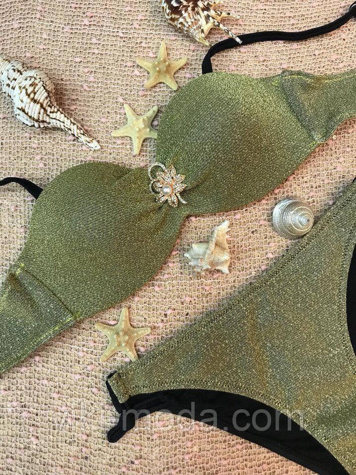 Раздельный женский купальник золотого цвета, лиф анжелика с пуш-ап и декором из броши