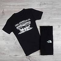 Мужская футболка Levi Strauss молодежная из хлопка с принтом в черном цвете, ТОП-реплика