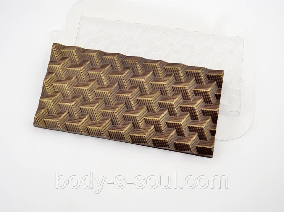 Пластиковая форма для шоколада Плитка Кубики Полосатые