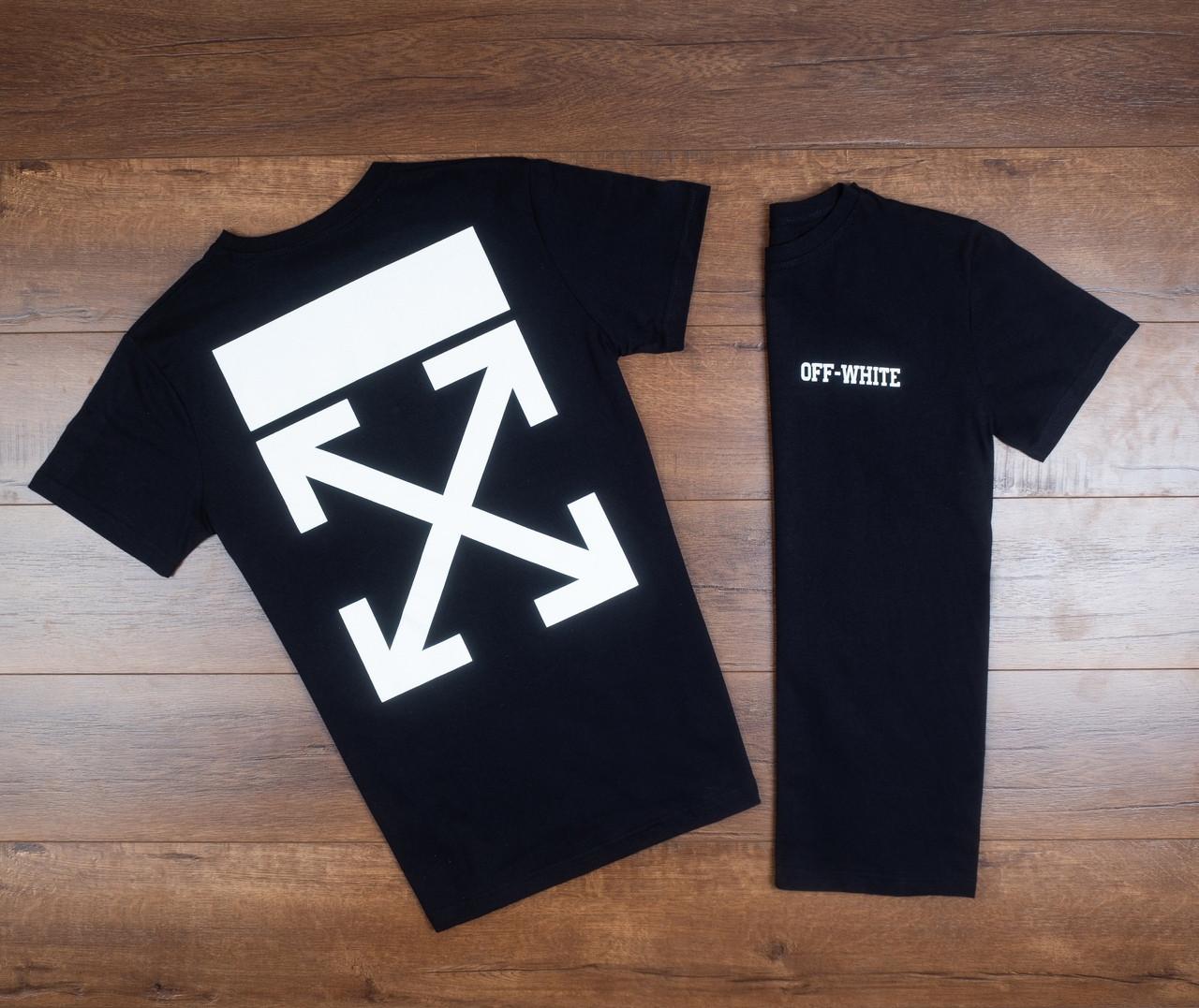 Мужская футболка Off-White летняя из хлопка стильная в черном цвете, ТОП-реплика