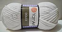Велюровая (плюшевая) пряжа для вязания DOLCE YarnArt № 741 - белый