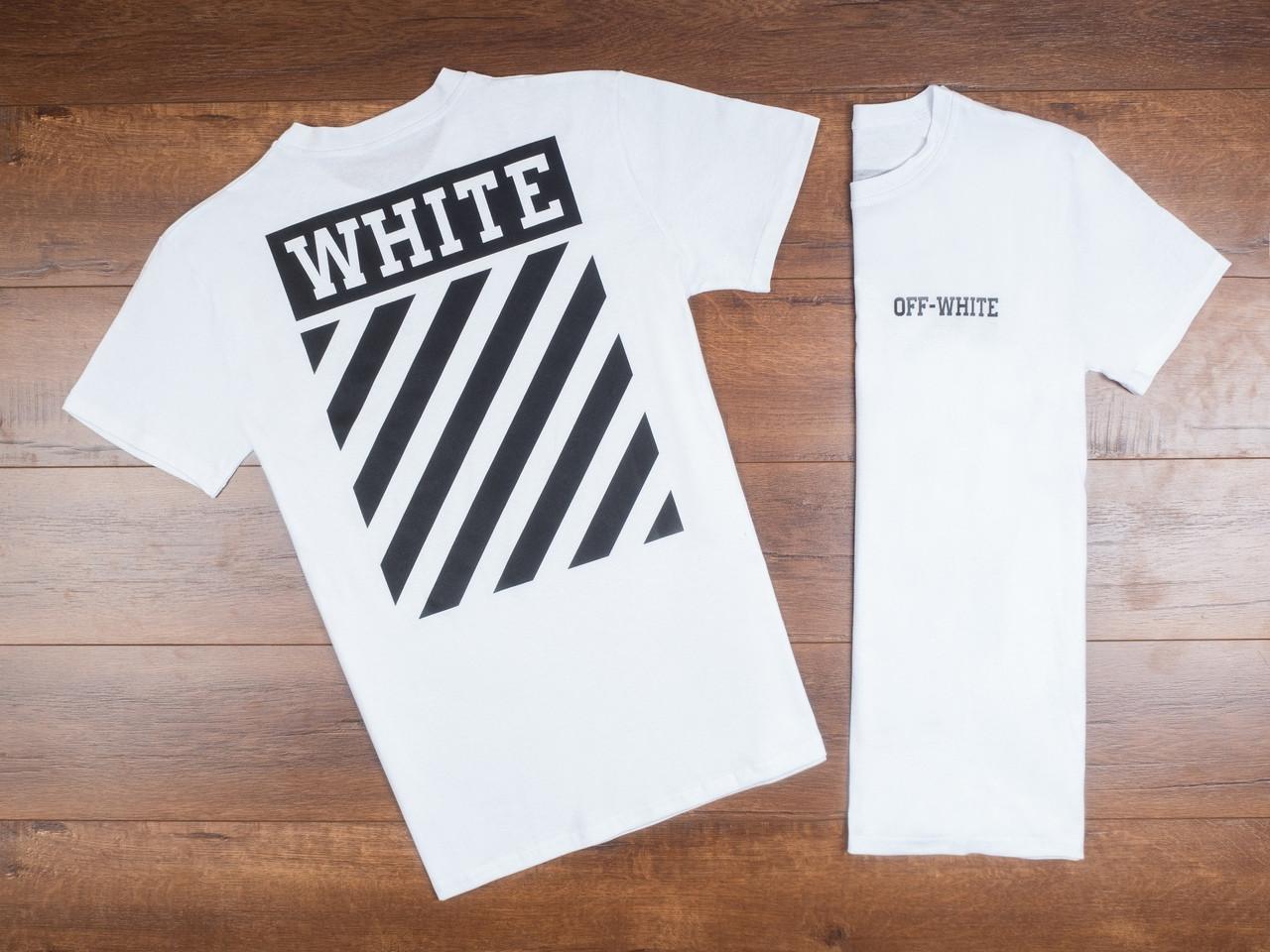 Футболка мужская Off-White на лето легкая из хлопка в белом цвете, ТОП-реплика
