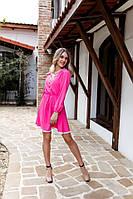"""Короткое летнее софтовое платье  """"Ветон"""" с длинным рукавом (2 цвета)"""