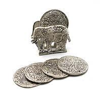 """Подстаканники """"слон """" (н-р 6 шт) металл (10,5х8,5х4 см)(непал)"""
