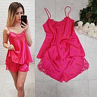 Женский элегантный комплект для сна топ майка с шортами розовый, фото 1