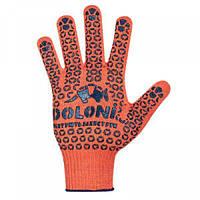 """Перчатки хлопок оранжевые / черные ПВХ точка, ТМ """"Doloni"""""""