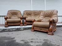 Кожаный комплект 3+1+1 кожаный диван шкіряний диван уголок