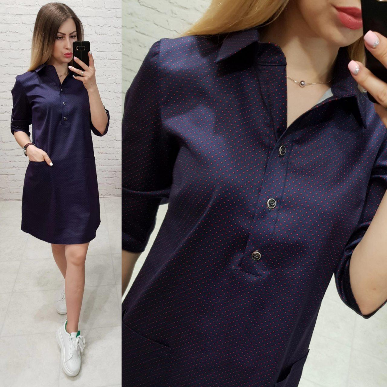 Платье- рубашка с карманами, арт 831, красный горошек, цвет темно-синий