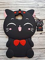 Объемный 3D силиконовый чехол для Huawei Y5 2017 Кошечка черная