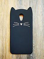 Объемный 3d силиконовый чехол для Meizu M6 Усатый кот черный