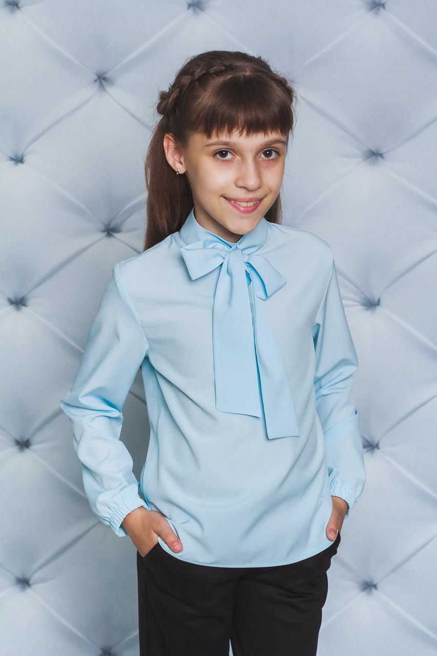 Блуза для девочки с бантом голубая
