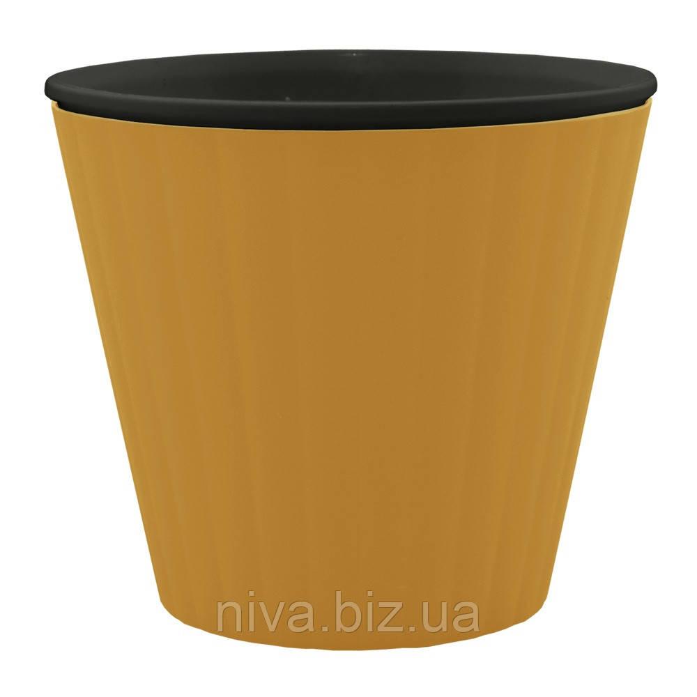 Горщик Ібіс з чорним вкладом діаметр 17,9 см висота 14,7 см бронзовий Алеана