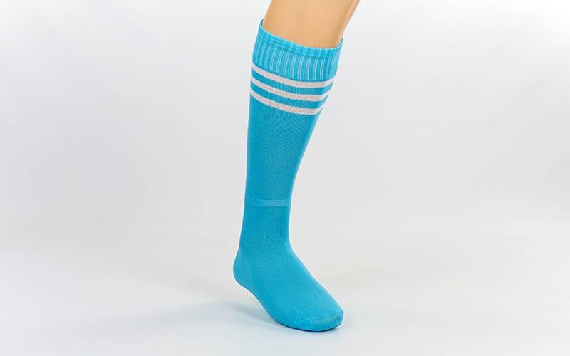Гетры футбольные взрослые голубые с белой полосой CO-120-LB