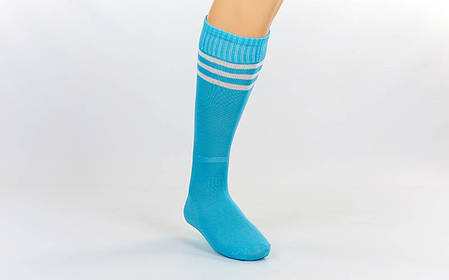 Гетры футбольные взрослые голубые с белой полосой CO-120-LB, фото 2