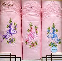 Набор женских носовых платков Fazzoletto 100% хлопок Etnica в подарочной упаковке розовый