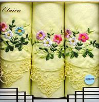 Набор женских носовых платков Fazzoletto 100% хлопок Etnica в подарочной упаковке желтый