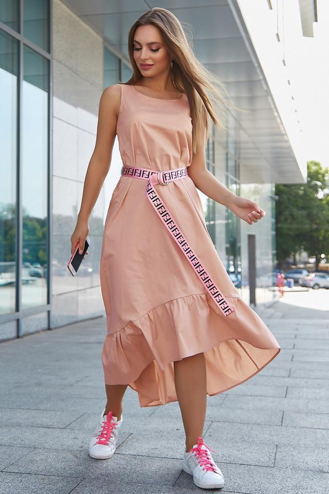 Женское летнее платье сарафан, цвет кофе, повседневное, молодёжное, гламурное, асимметричное