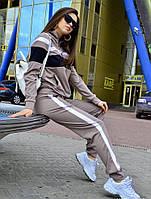 Женский спортивный костюм на молнии, бежевый