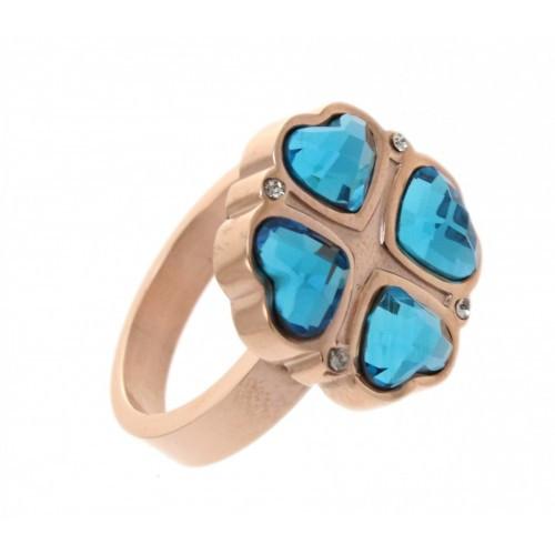 Красивое позолоченное женское кольцо из медицинской стали 101789