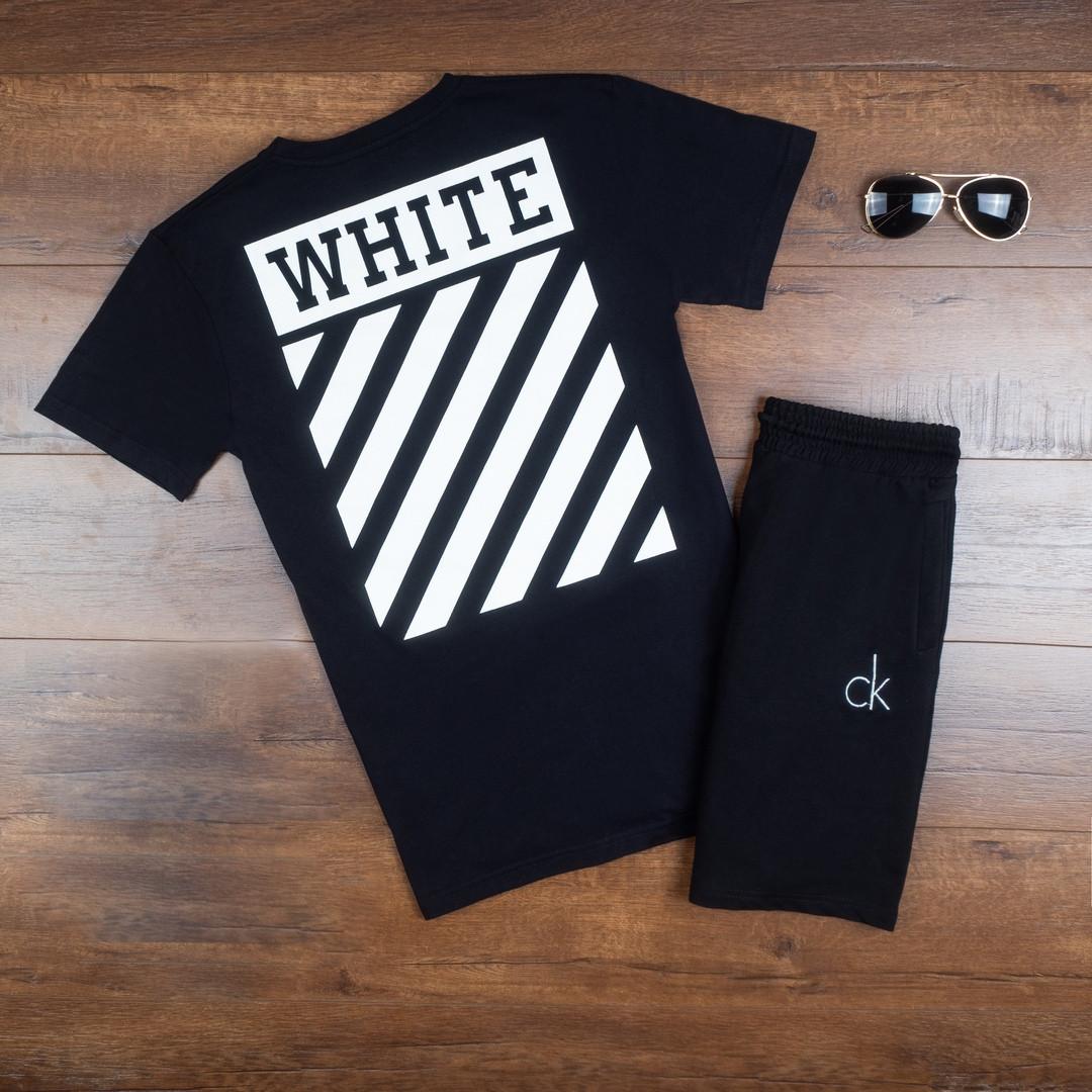 Продается ТОЛЬКО футболка мужская Off-White комфортная молодежная из хлопка в черном цвете, ТОП-реплика