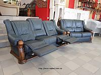 Кожаный комплект 3р+2 диван реклайнер кожаный диван шкіряний комплект