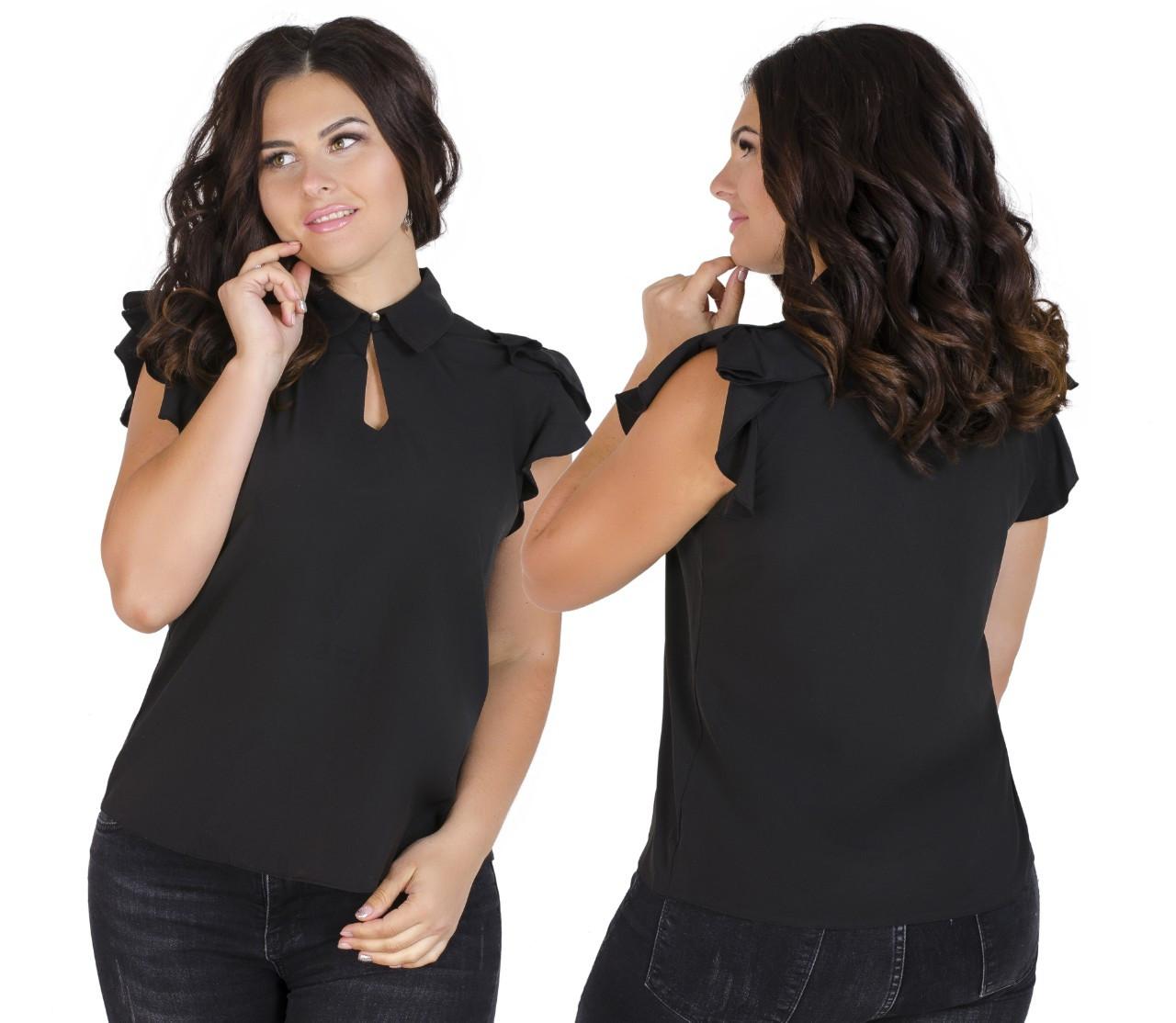 Красивая блузка с воротником батал 52-56 (в расцветках)