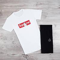 Летняя мужская футболка Supreme  100% хлопок качественная с принтом (белая), ТОП-реплика