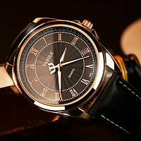Мужские часы YAZOLE 336 кожаный ремешок (Чёрные с чёрным ремешком)