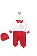 Человечек для ребёнка/девочка 100%хлопок Красный MiniBom все размеры  9 мес (74 см)