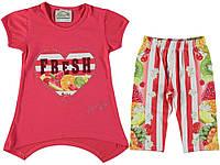 Костюм (футболка, капри) для ребёнка/девочка 75% вискоза, 20% хлопок, 5% эластан коралловый Mali Kon все размеры  104 см