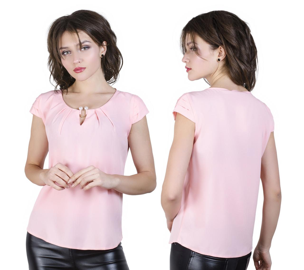 Однотонная женская блузка c коротким рукавом 42-50 (в расцветках)