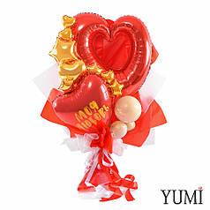 Букет: Красное сердце Моя любовь, Красное сердце вензель, золотые мини звезды и сердца